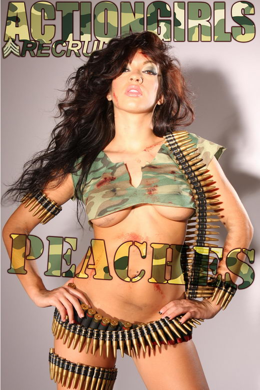 Peaches in Army gallery from ACTIONGIRLS