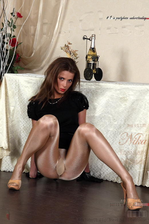 Nika - `Victoria's Secret Glossy Smooth Signature Gold Collection pantyhose [part I]` - for ARTOFGLOSS