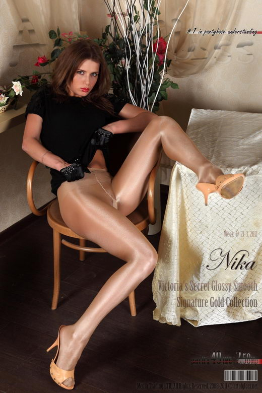 Nika - `Victoria's Secret Glossy Smooth Signature Gold Collection pantyhose [part II]` - for ARTOFGLOSS