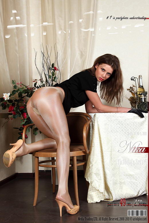 Nika - `Victoria's Secret Glossy Smooth Signature Gold Collection pantyhose [part III]` - for ARTOFGLOSS