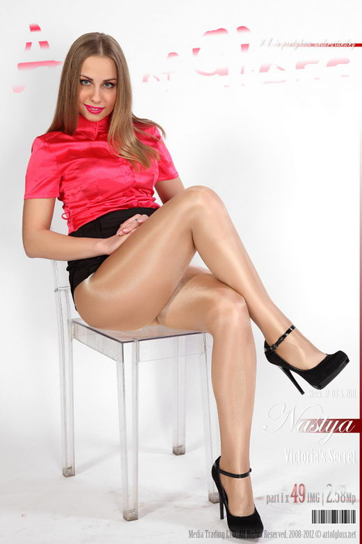 Nastya - `Victoria's Secret Glossy Smooth Signature Gold Collection pantyhose [part I]` - for ARTOFGLOSS