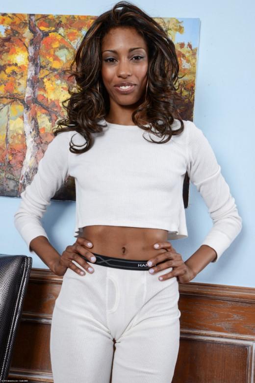 Ebony Adriana Malao is taking off her sexy tight cheerleader uniform  1368060