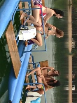 Simone K & Anouk I & Tamara F & Nikki I in Four girls, two water bikes video from CLUBSEVENTEEN