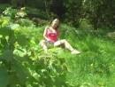 Sue takes a vibrator to the garden