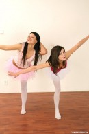 Two ballet girls undressing each other