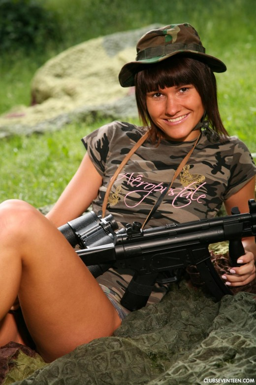 Debbie E in Military teen masturbates her pussy outdoors gallery from CLUBSEVENTEEN