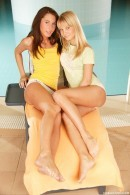 Jocelyn & Chanel A - Stunning young lesbians having dildo fun