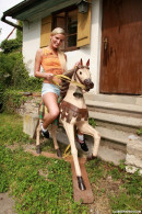 Cynthia G & Mellie - Riding the wooden horse naked