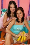 Satin & Anne B in Gorgeous teens toy each other with a banana gallery from CLUBSEVENTEEN