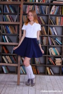 Anya Mozok in Sexy Student Undressing In The Library gallery from CLUBSEVENTEEN