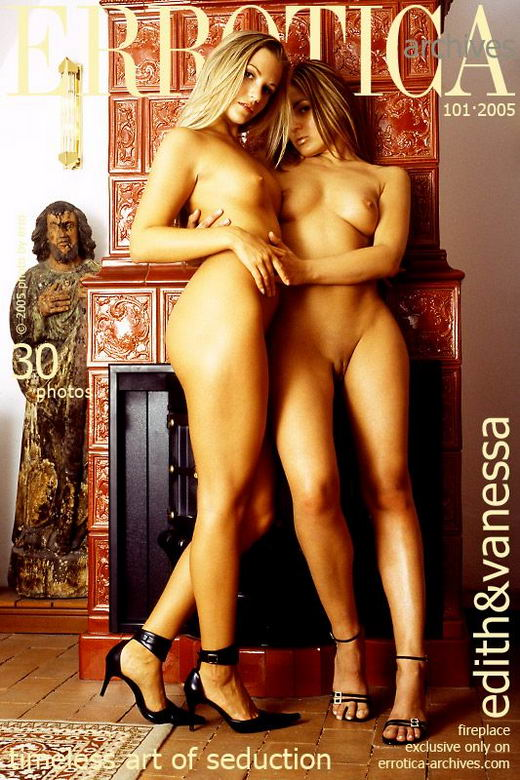 Vanessa & Edith - `Fireplace` - by Erro for ERROTICA-ARCHIVES