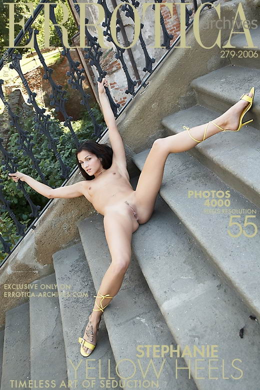 Stephanie - `Yellow Heels` - by Erro for ERROTICA-ARCHIVES