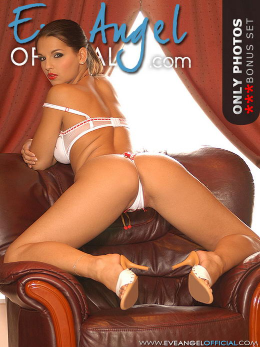 Eve Angel - `Fingering on leather armchair` - for EVEANGELOFFICIAL
