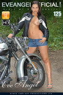 Hot brunette on motorbike