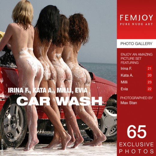 Evia & Irina F & Kata A & Milli in Car Wash gallery from FEMJOY by Max Stan
