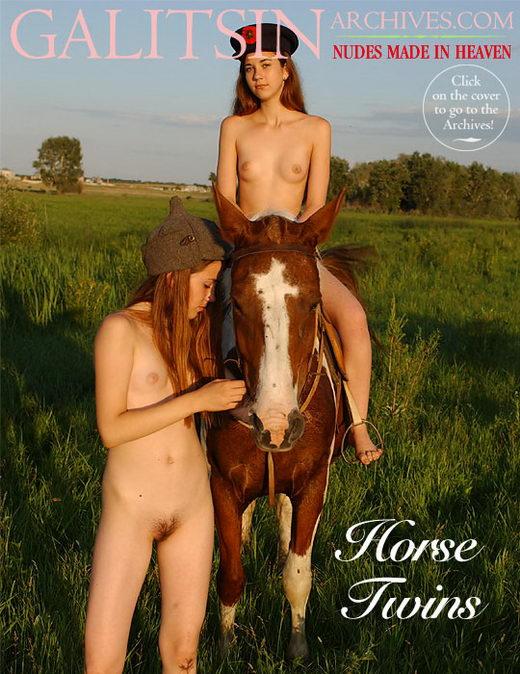 Lina & Maya - `Horse Twins` - by Galitsin for GALITSIN-ARCHIVES