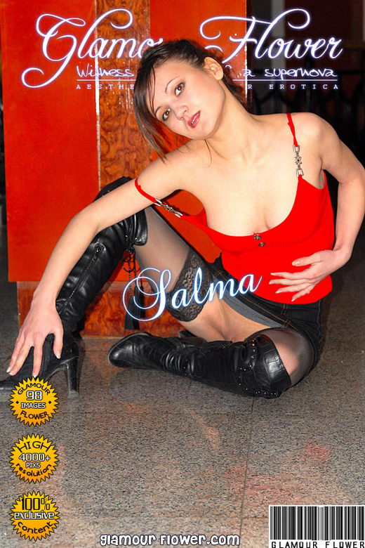 Salma - `Salma in black stockings` - for GLAMOURFLOWER ARCHIVES