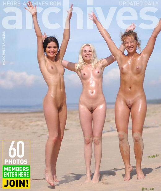 Indre & Ulrika - `Three Nymphs On The Beach  - Part 1` - by Petter Hegre for HEGRE-ARCHIVES
