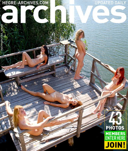 `Five Naked Girls On A Pier` - by Petter Hegre for HEGRE-ARCHIVES