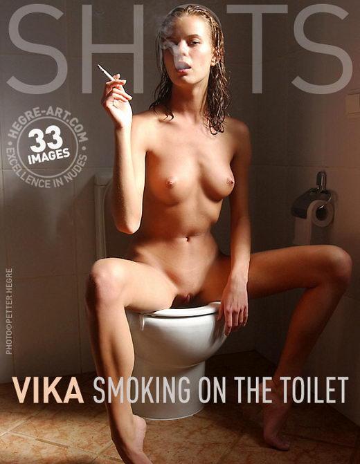 Vika - `Smoking on the Toilet` - by Petter Hegre for HEGRE-ART