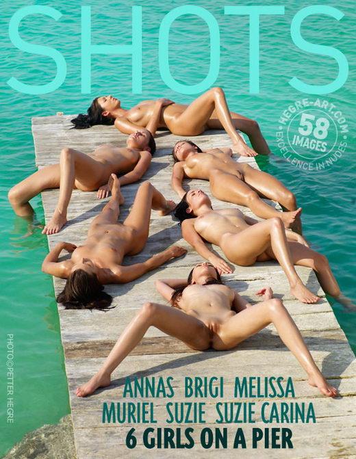 Anna S & Brigi & Melissa & Muriel & Suzie & Suzie Carina - `6 Girls On A Pier` - by Petter Hegre for HEGRE-ART