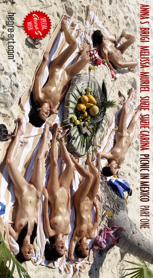 Anna S & Brigi & Melissa & Muriel & Suzie & Suzie Carina - `Picnic In Mexico - Part 1` - by Petter Hegre for HEGRE-ART