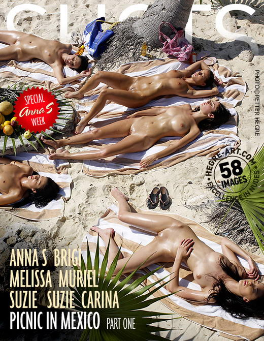 Anna S & Brigi & Melissa & Muriel & Suzie & Suzie Carina - `Picnic In Mexico - Part 1` - by Petter Hegre for HEGRE-ART