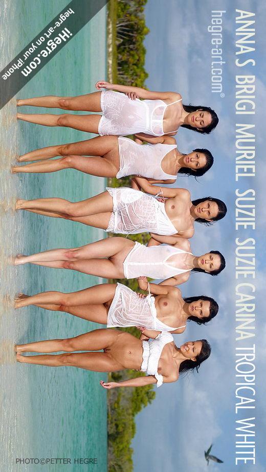Anna S & Brigi & Melissa & Muriel & Suzie & Suzie Carina - `Tropical White` - by Petter Hegre for HEGRE-ART