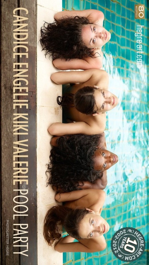 Candice & Engelie & Kiki & Valerie - `Pool Party` - by Petter Hegre for HEGRE-ART