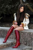In Red High Heel Boots