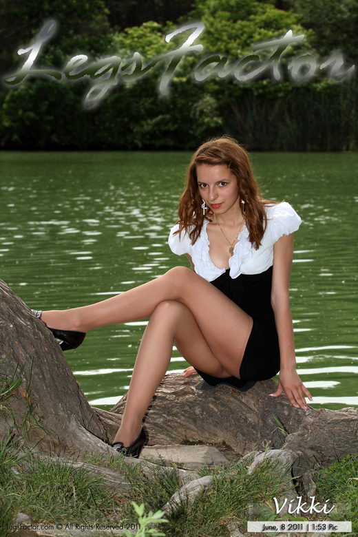 Vikki - `Flashing In Nude Pantyhose At The Lake` - for LEGSFACTOR