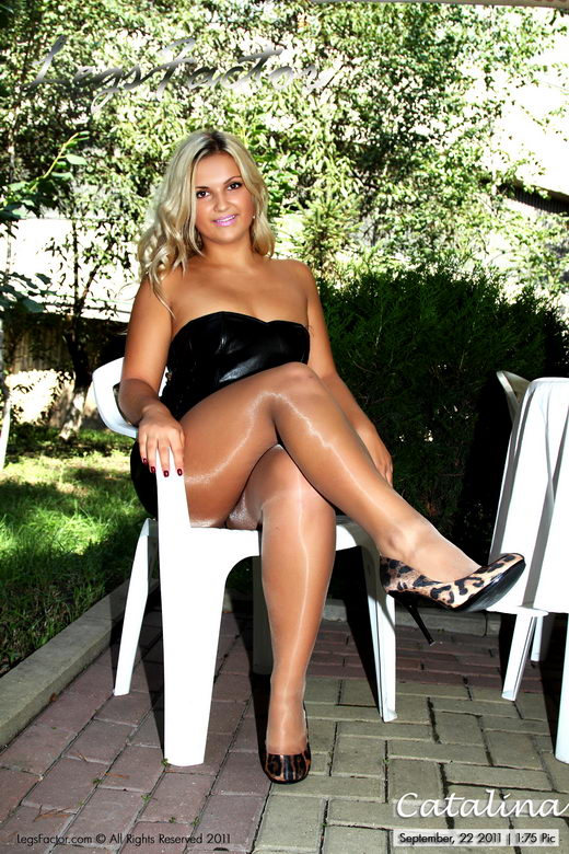 Catalina - `In Black Leather Dress And Glossy Patyhose` - for LEGSFACTOR