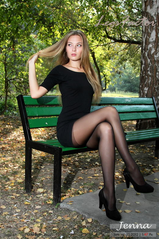 Jenna - `Playing On Grass In Black Pantyhose` - for LEGSFACTOR