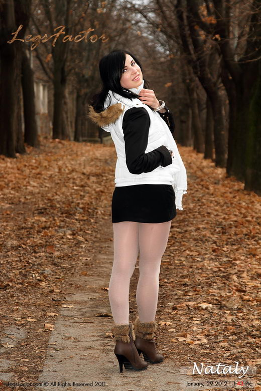 Nataly - `In Winter White Opaque Tights` - for LEGSFACTOR