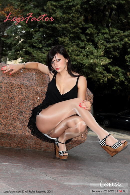 Lena - `In Glossy Pantyhose And Sexy Alluring Miniskirt` - for LEGSFACTOR