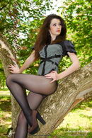 In Park In Black Pantyhose