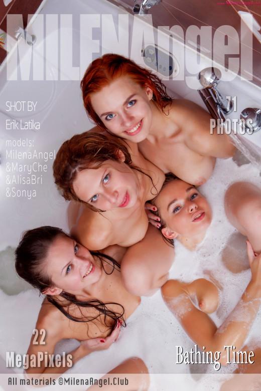 Milena Angel & Mary Che & Alisa Bri & Sonya in Bathing Time gallery from MILENA ANGEL by Erik Latika