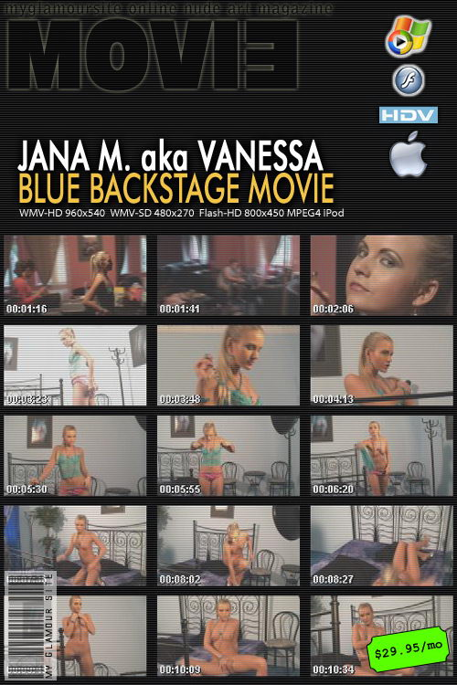 Jana M - `Blue Backstage video` - by Tom Veller for MYGLAMOURSITE