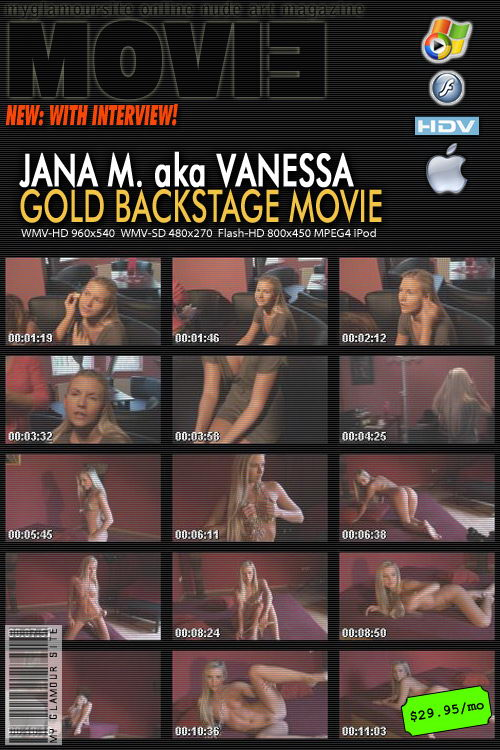 Jana M - `Gold Backstage Movie with Interview` - by Tom Veller for MYGLAMOURSITE