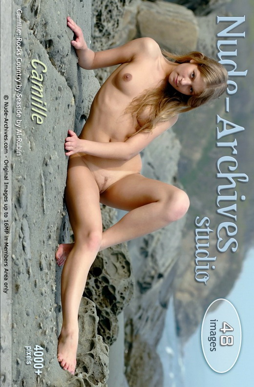 Camille - `Rock Seaside` - by Al Rubin for NUDE-ARCHIVES