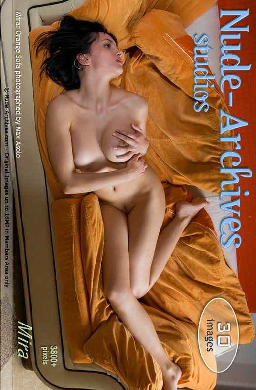 Mira - `Orange sofa` - by Max Asolo for NUDE-ARCHIVES