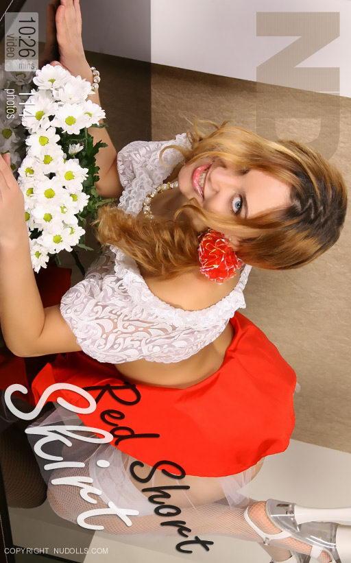 Julia - `Red Short Skirt` - for NUDOLLS VIDEO