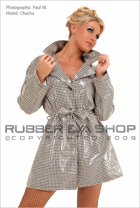 Chacha - `Deluxe Houndstooth Plastic Coat` - by Paul W for RUBBEREVA