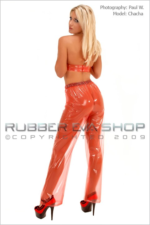 Chacha - `Elasticated Straight Cut Plastic Trousers` - by Paul W for RUBBEREVA