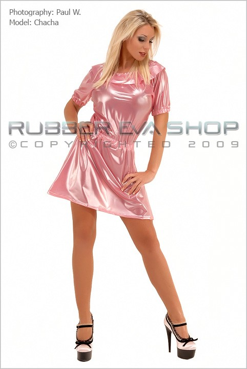 Chacha - `Frill Neck Plastic Mini Dress` - by Paul W for RUBBEREVA