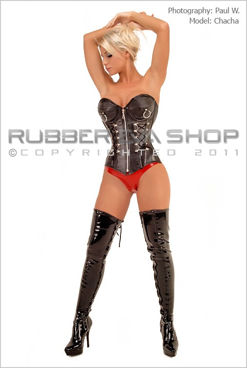 Chacha - `Laced Leather Tit Ring Corset` - by Paul W for RUBBEREVA