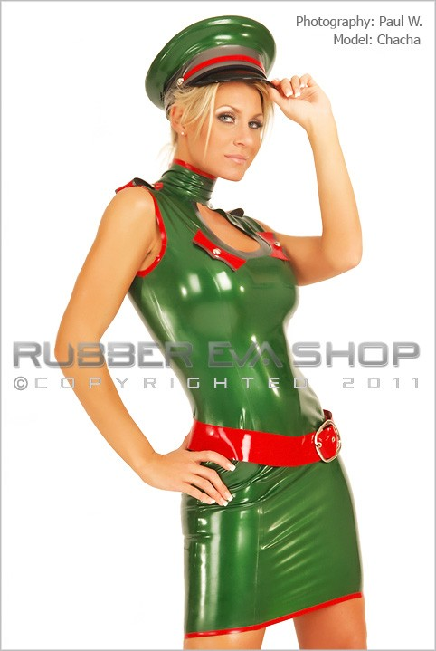 Chacha - `Short Rubber Keyhole Military Dress` - by Paul W for RUBBEREVA