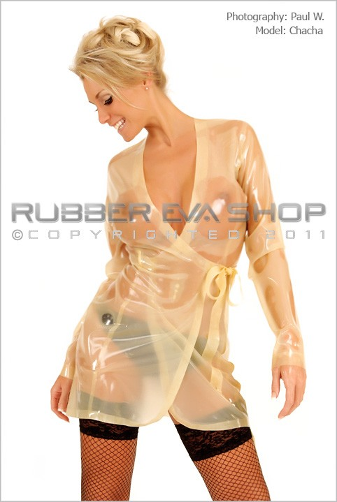 Chacha - `Short Rubber Wrap Dressing Gown` - by Paul W for RUBBEREVA