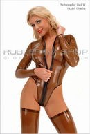 Chacha in Black Front Zip Rubber Leotard gallery from RUBBEREVA by Paul W