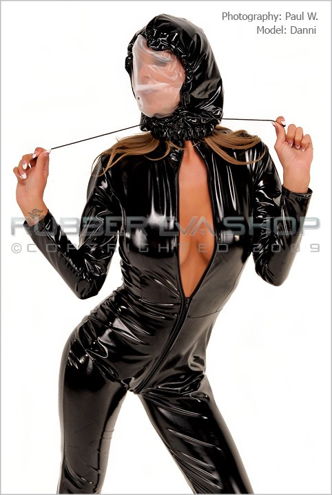 Danni - `Drawstring Double Layered Breathplay Hood` - by Paul W for RUBBEREVA